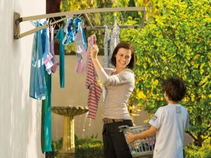 Hills Supa Fold Duo Wall Mounted Folding Clothes Washing Line (Blue or Beige)