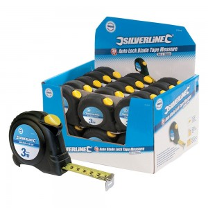 Silverline Display Box of Auto Blade Lock Tape Measures (Various Sizes)