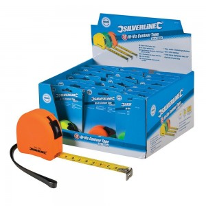 Silverline Display Box of Hi-Vis Contour Tape Measures (Various Sizes)