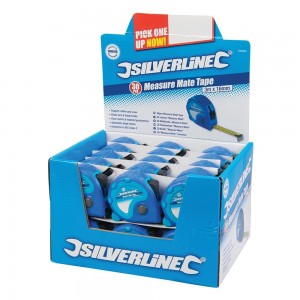 Silverline Display Box of Measure Mate Tape Measures (Various Sizes)