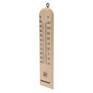 Silverline Wooden Thermometer