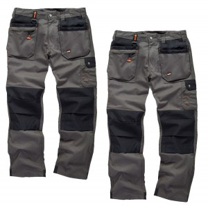 Scruffs WORKER PLUS TWIN PACK Graphite Grey Work Trousers with Holster Pockets Trade Hardwearing