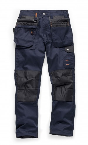Scruffs WORKER PLUS Navy Work Trousers with Holster Pockets (All Sizes) Trade Hardwearing