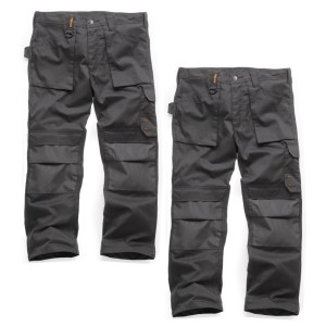 Scruffs TWIN PACK Worker Multi Pocket Work Trousers Graphite Grey Trade 28S