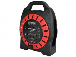 Faithfull Enclosed Box 10mtr Cable Extension Reel 240v/13a