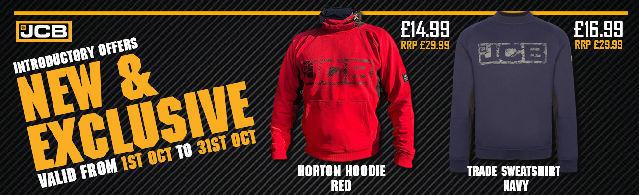 New and Exclusive - Introductory Offers for JCB Horton Hoodie Red and Trade Sweatshirt Navy