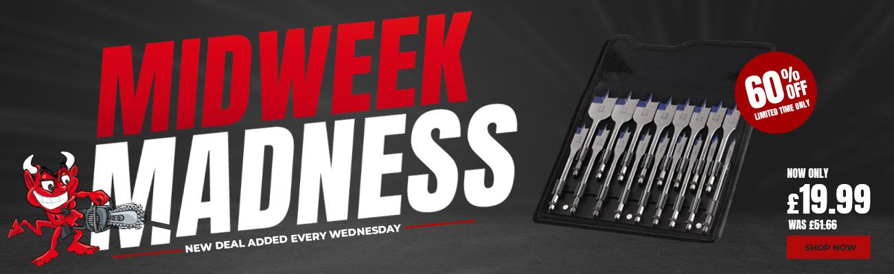 MidWeek Madness - Save 60% on Irwin Blue Groove 4x Flat Wood Bit Set 17 Piece